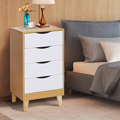 HOMCOM Bedside Table Night Stand Elevated Feet Storage W/ 4 Drawers Nordic Style