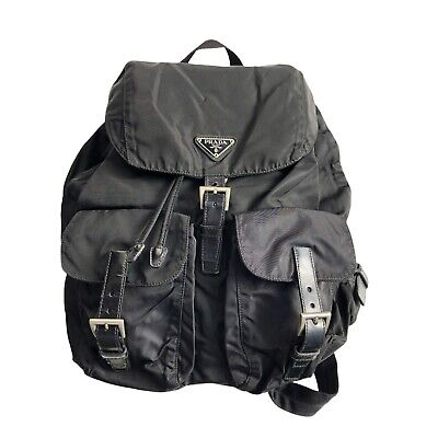 Prada Vintage Backpack Bag Black Nylon 2 Buckles Authentic