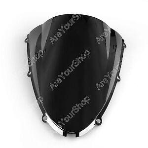 Windshield WindScreen Double Bubble For Kawasaki ZX6R 05-08 ZX10R 06-07 Black E2