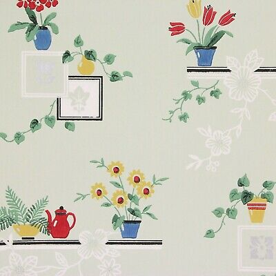 1940s Vintage Wallpaper Tulips Daisies on Green