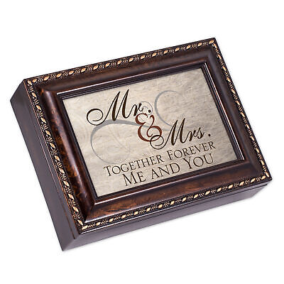 Mr. & Mrs. Together Forever Burlwood Finish Jewelry Music Box Plays Canon in D