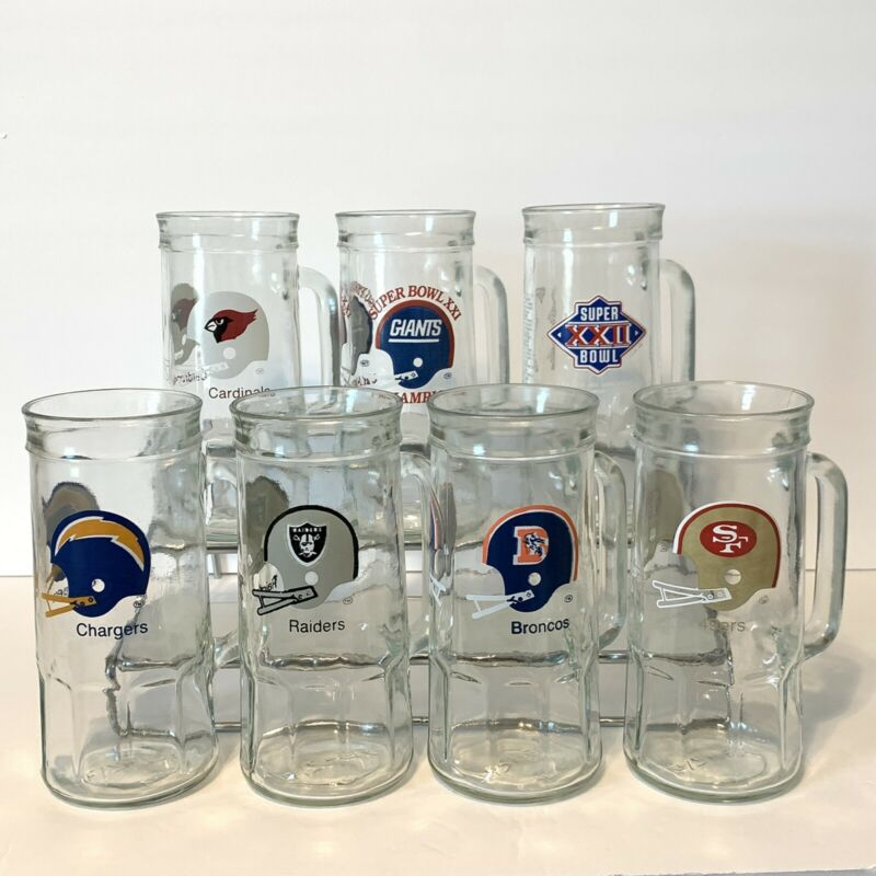 Vintage NFL Clear Steins Mugs Fisher