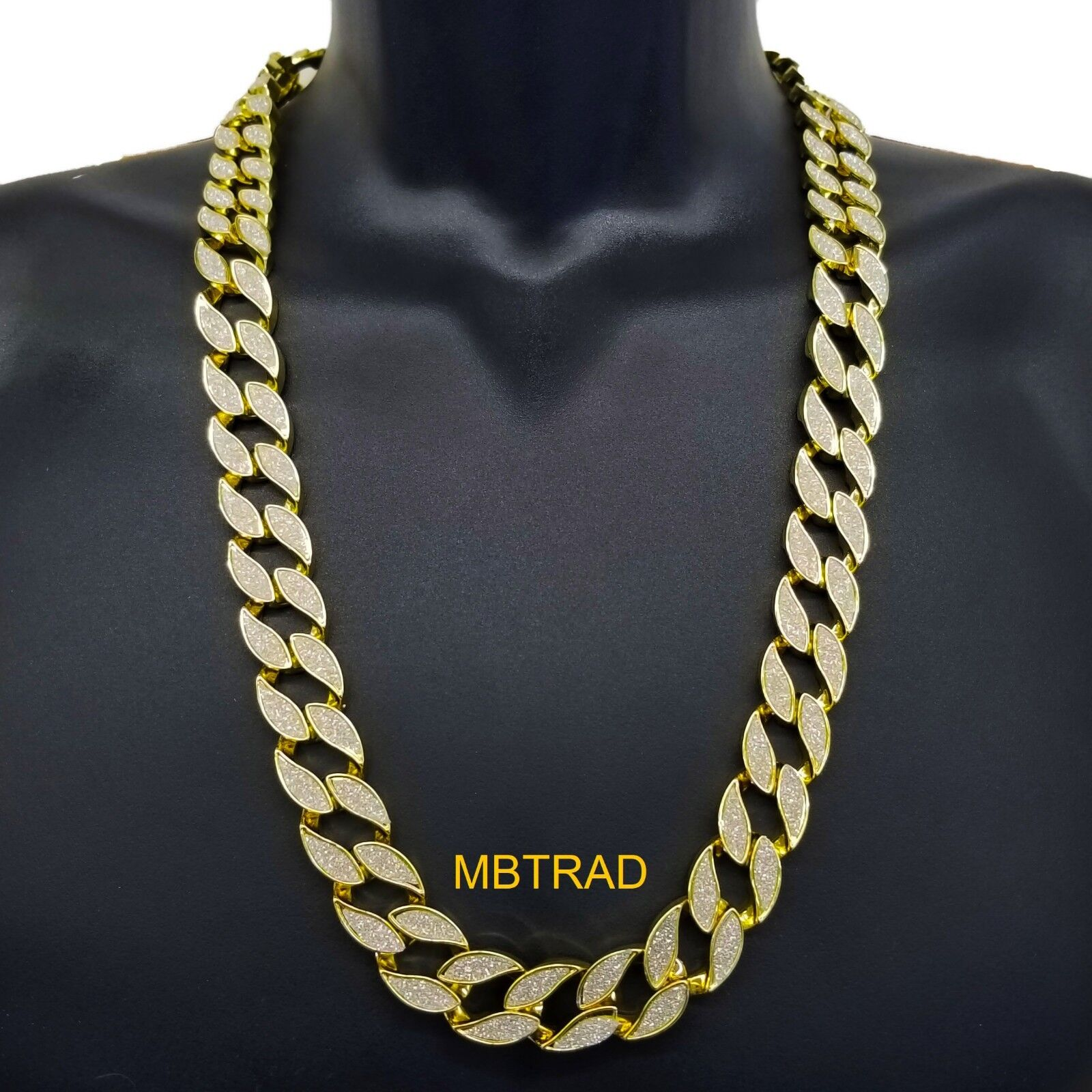 """Mens Gold Heavy 30"""" Inch Stardust Hip hop 18mm Cuban Curb Link Chain Necklace"""