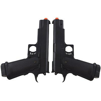 2 x UKARMS M1911 FULL SIZE SPRING AIRSOFT HAND GUN PISTOL 6mm BBs BB Black