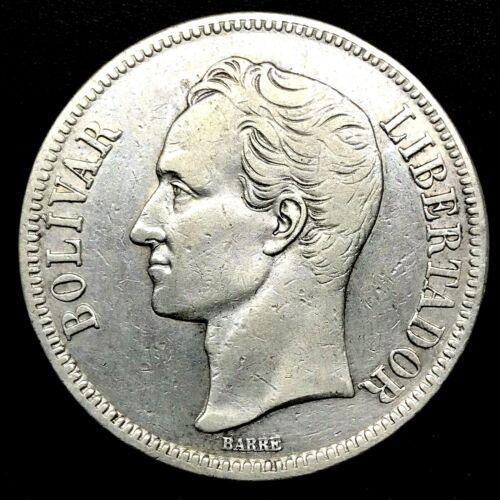 1924 VENEZUELA 5 BOLIVARES (25 GRAM) .900 Silver Crown Coin AU/MS Y#24.2