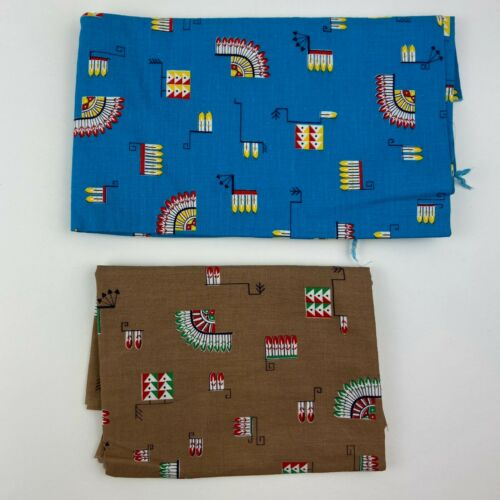 VTG 50s Fabric Remnant Pieces Native American Indian Novelty Print Quilt Scraps
