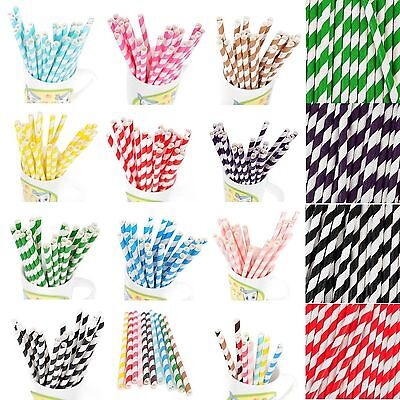 25-100X Paper Drink Gold Striped Straws Biodegradable Baby Shower Xmas Party EN](Christmas Paper Products)