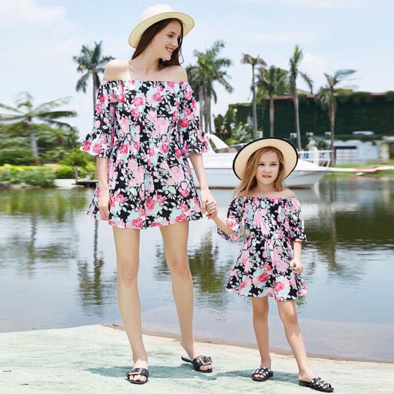 Partnerlook Mutter Tochter Kleid Mädchen Damen Rückenfrei Blume Mini Sommerkleid