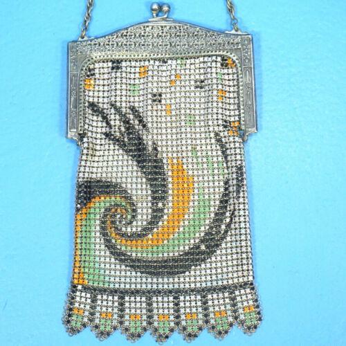 Antique Art Deco Whiting Davis EVENING BAG PURSE Enameled Chain Link Mesh c1920s
