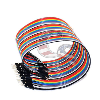 40pcs 20cm Male To Male M To M Dupont Wire Jumper Cable For Arduino Breadboard