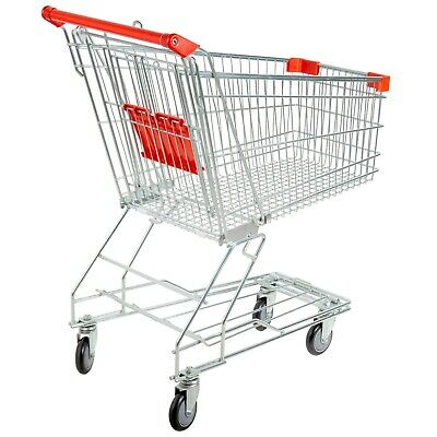 3.5 Cu. Ft 220 Lb Capacity Silver Metal Supermarket Grocery Shopping Cart
