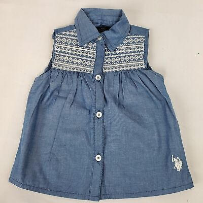 U.S Polo collared tank top shirt 24 month lace button down pleated peplum girls