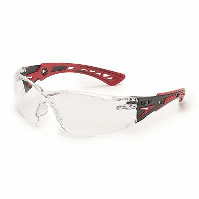 Anti Fog Safety Glasses - Bolle Rush + Safety Glasses with Clear Anti-Fog Lens, Red/Black Temples