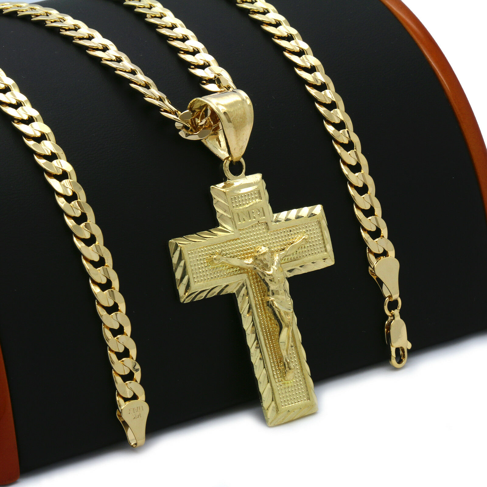 Mens 18k Gold Plated JESUS CROSS  Hip-Hop Pendant 6mm Cuban