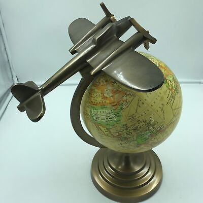 "Airplane and Globe Model ""On Top of the World"" 15"" Tall, 8"" Globe Deco Art"