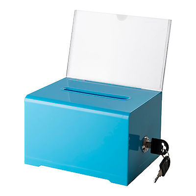 Adir Acrylic Suggestion Donation Ballot Box 6.25x4.5x4 637 W Lock -blue