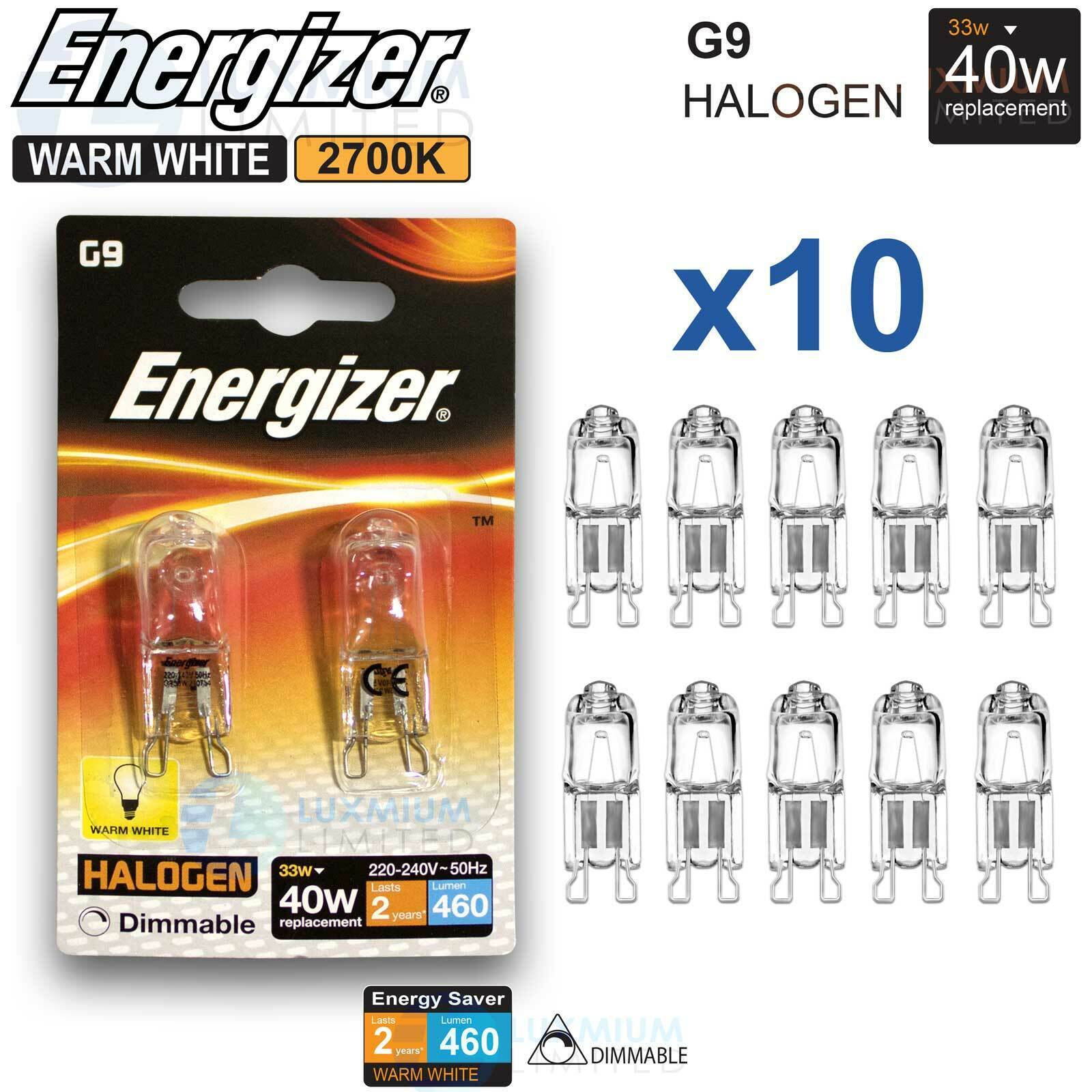G9 Bulb Lamp Details Warm White X 33w About Saving 460lu 10 Dimmable Energizer Halogen Capsule 0m8Nvnw