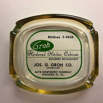 Hardwood Kitchen Cabinets - Joseph G. Groh Hardwood Kitchen Cabinets ashtray. Chicago, Illinois. Pre-1965.