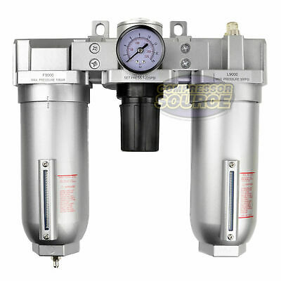 1 Compressed Air Moisture Filter Regulator Oiler Separator Lubricator Combo Hd
