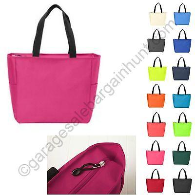 Zipper Tote Bag Book Shopper Teacher Nurse Purse Handbag Gym Diaper Beach Bride