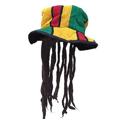 Rasta Dreadlocks Dread Wig Hat Cap Rastafari Costume Jamaica Reggae Marley 1LOV - Jamaica Costumes