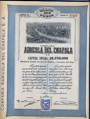 Compania Agricola Del Chapala Bond Stock Certificate 1911 Mexico Coupons