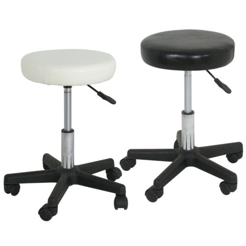 Black/White Adjustable Tattoo Salon Stool Hydraulic Rolling