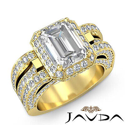 3 Row Shank Radiant Diamond Engagement Pave Ring GIA G Color SI1 Clarity 2.7 Ct 6