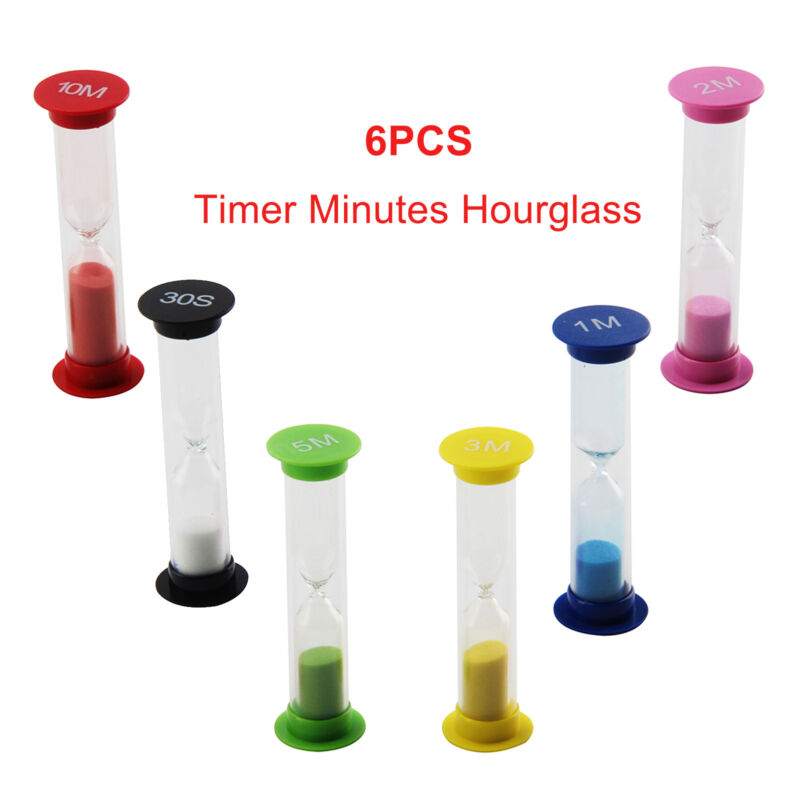 Details about 6Pcs Sand Egg Timer Minutes Teaching Games Hourglass  Sandglass Timing Second Set