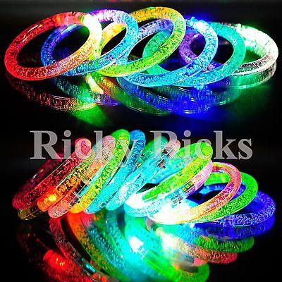 12 PCS Light-Up Bracelets Thick Acrylic Wristbands LED Flashing Bands Rave EDC](Light Up Wristbands)