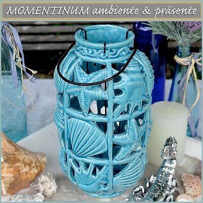 maritimes WINDLICHT Keramik blau Muscheln Seestern Strand Meer Laterne Pool Deko