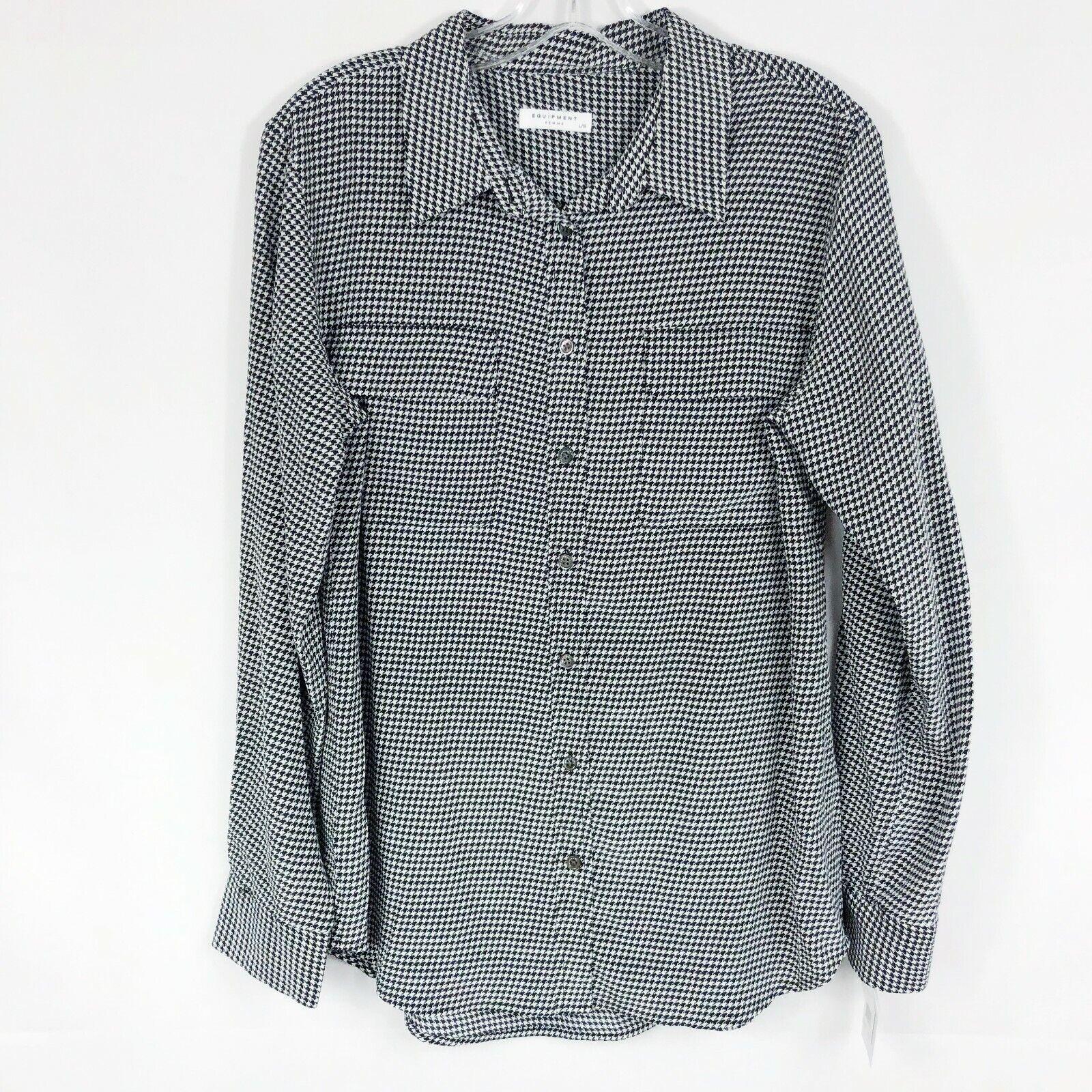 Equipment NEW Houndstooth Silk Long Sleeve Button Down Shirt