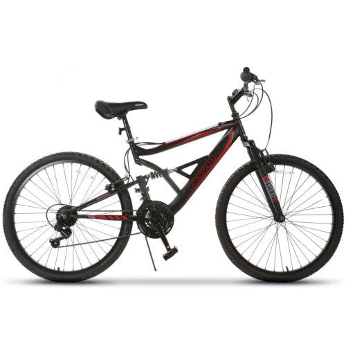 """26"""" 18 Speed Mountain Bike Rocker Bicycle Shimano Hybrid Suspension Sports"""
