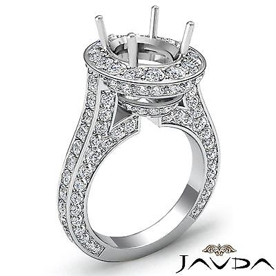 2.1Ct Diamond Engagement Halo Pave Set Javda Ring Oval Semi Mount 14k White Gold