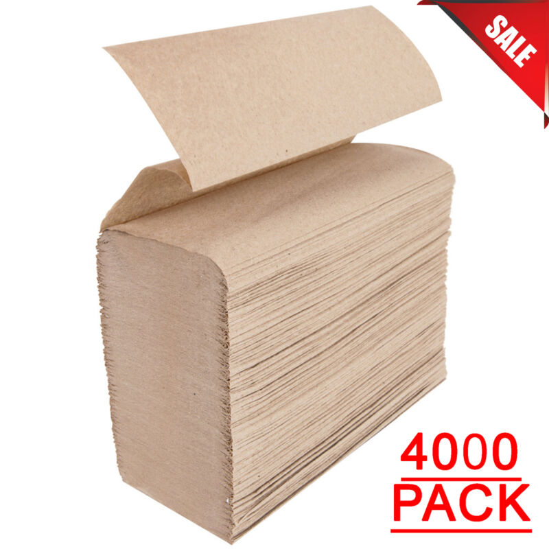(4000 Pack) Bulk Wholesale Kraft M-Fold (Multifold) Paper Towels Commercial New
