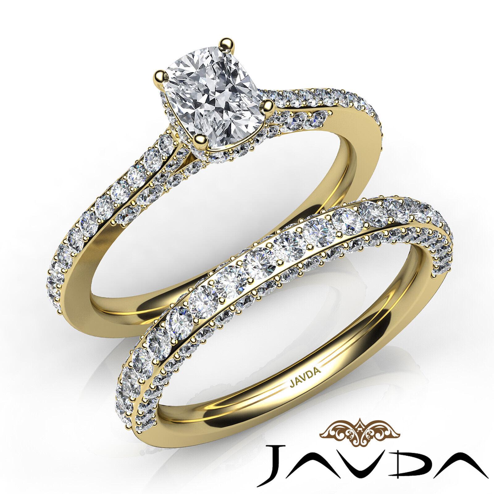 2.85ctw Pave Circa Halo Bridal Cushion Diamond Engagement Ring GIA F-VS1 W Gold 7