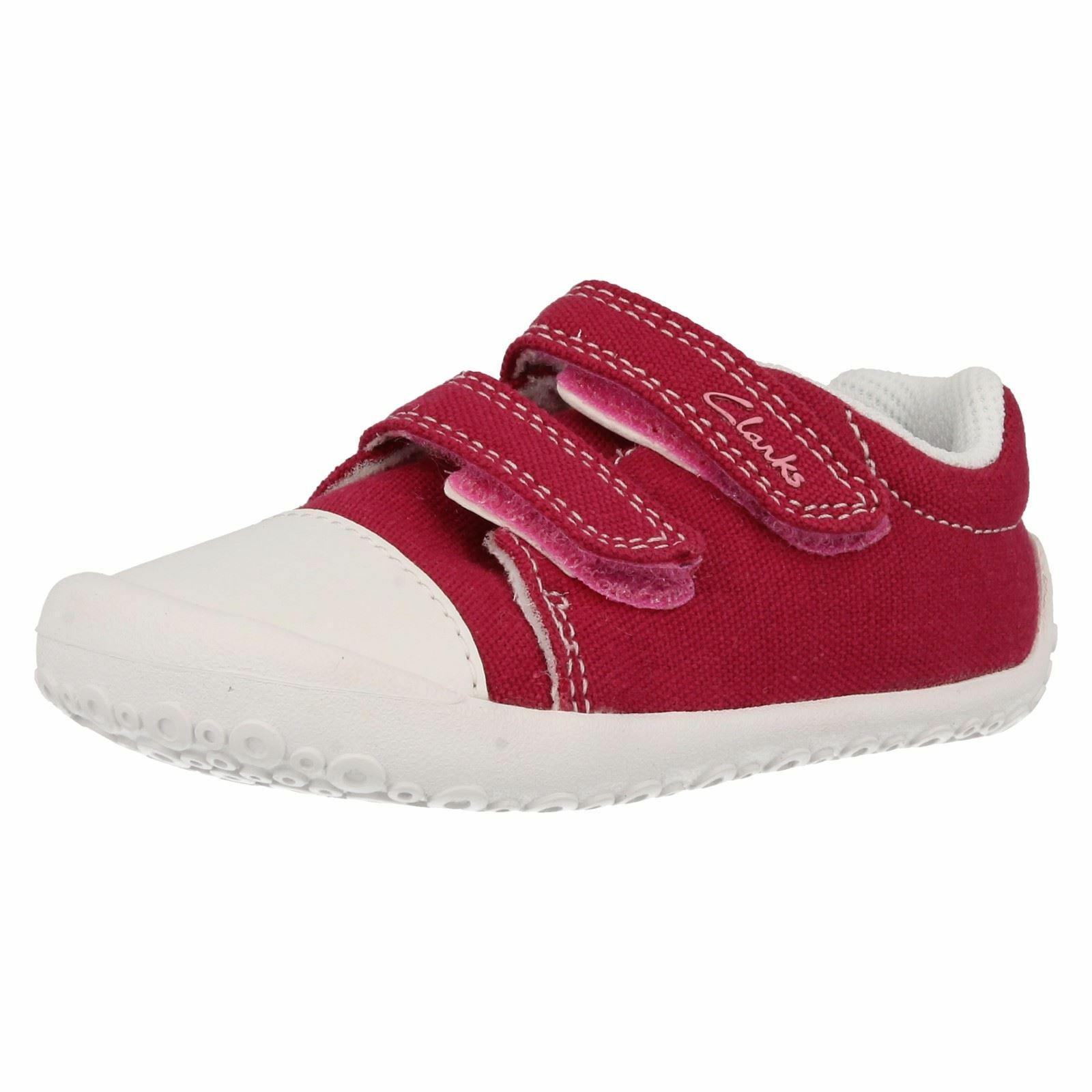 CLARKS GIRLS CANVAS SHOES KIRSTY HOT PINK FITTINGS AVAILABLE F&G TEXTILE UPPER