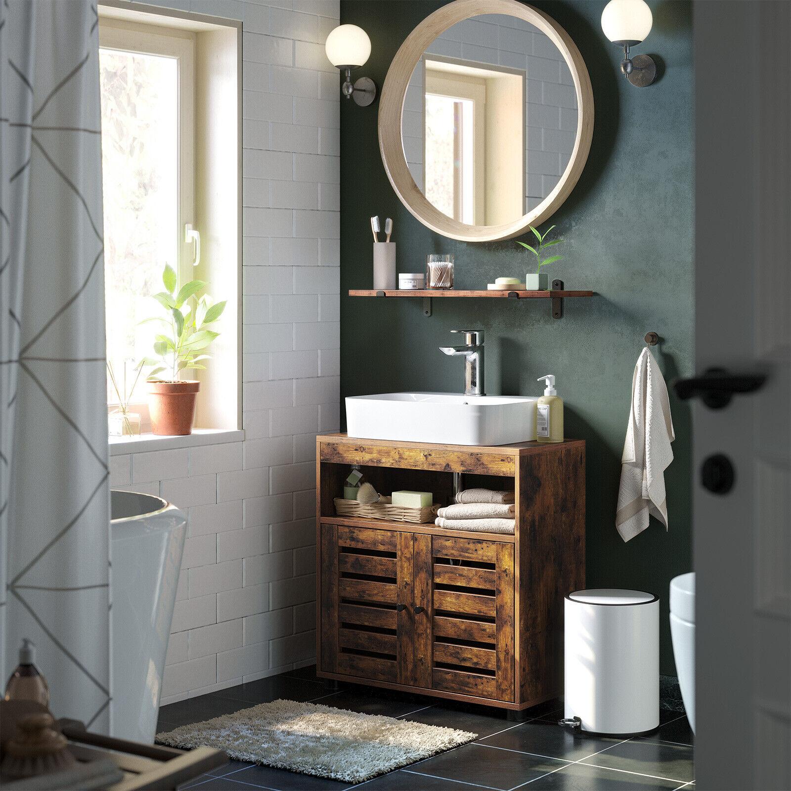 Badschrank Waschbeckenunterschrank Badezimmermöbel Waschtisch 2 Türen BBK04BX