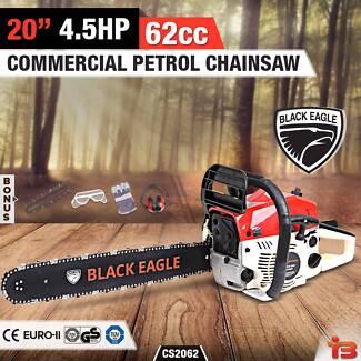 "Black Eagle 62cc Petrol Commercial Chainsaw 20"" Bar E-Start"
