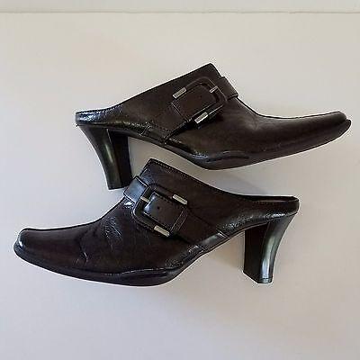 Aerosoles Mules Dark Brown 8.5M Shoes Heels Snake Print Buckle Man Made Vegan