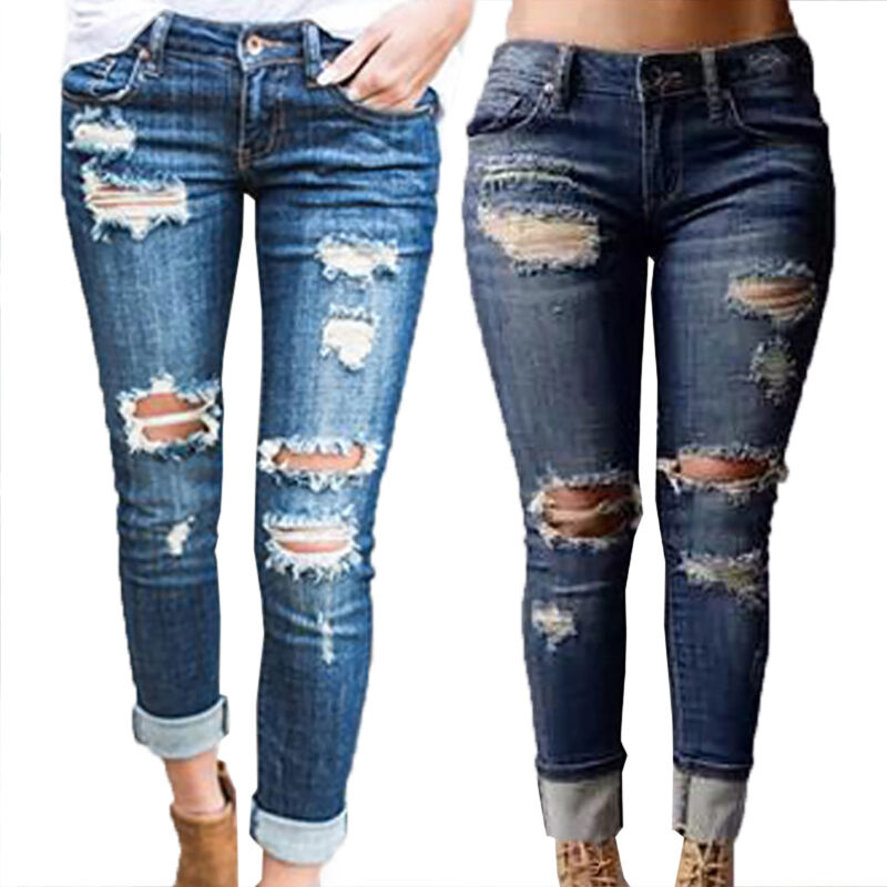 Womens Ripped Stretchy Jeans Leggings Ladies Skinny Jegging Slim Pants Trousers