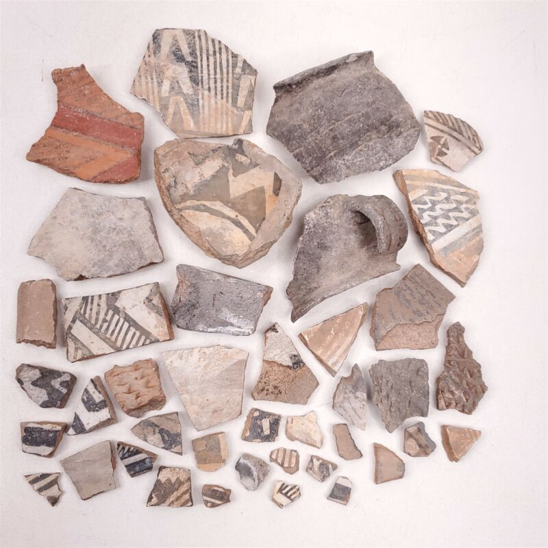 Pre-Colombian Artifacts Pottery Shards 40 Rare Shards Stripes, Patterns #2