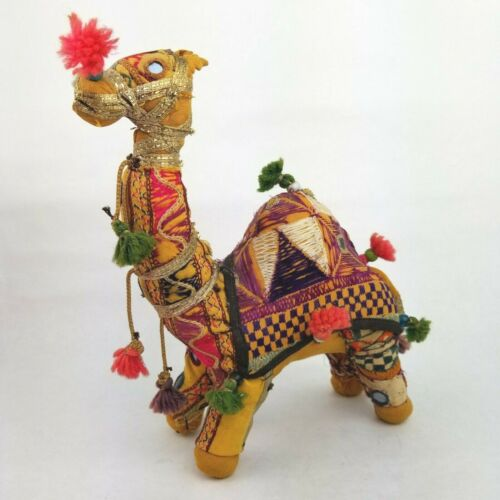 Vintage Folk Art Shisha Mirror Embroidered Camel Handmade In India Fabric Plush