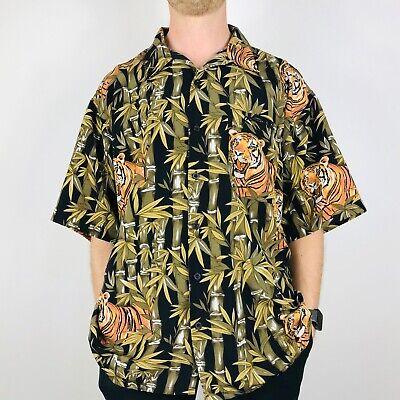 Tiger Print Mens Large Hawaiian Festival Pattern Shirt Retro Vintage