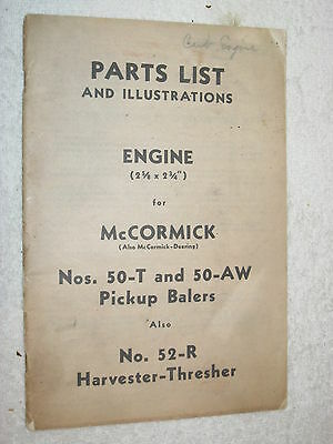Mccormick Deering 50-t 50-aw Pickup Balersharvester Engine Parts Catalog