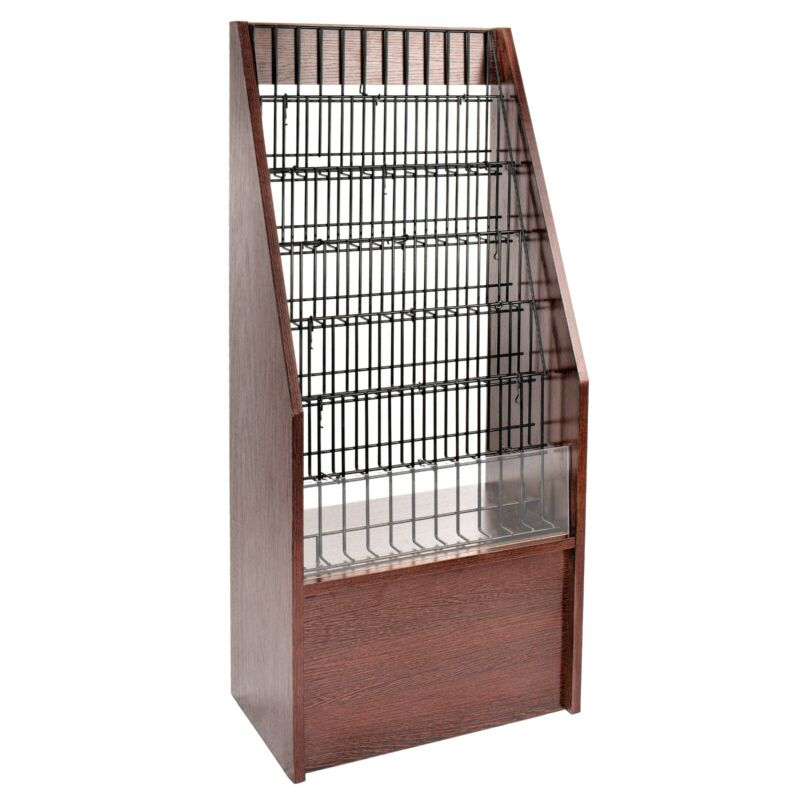 AdirOffice Mahogany Wood 6 Tier Freestanding Commercial Literature Magazine Rack