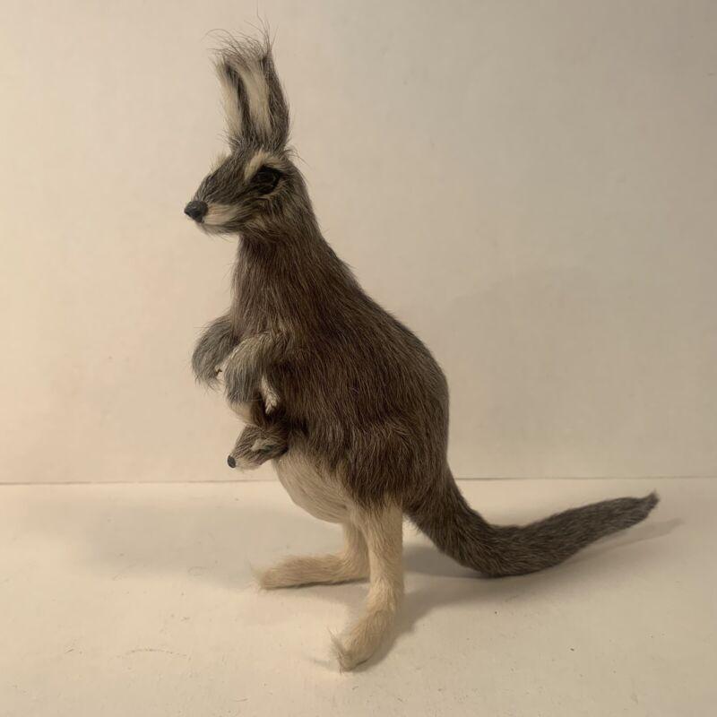Rare Real Fur Taxidermy Kangaroo Wallaby Baby Joey Figurine Vintage Toy
