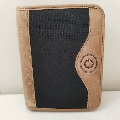 Franklin Covey Planner Binder Zip Up Usa Green Line Leather Trim Compact 6 Rings