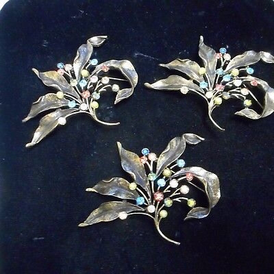 LOT OF THREE BEAUTIFUL CHICO'S FLOWER PINS / BROOCHES WITH CRYSTAL