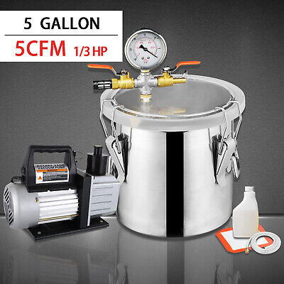 5gallon Vacuum Chamber 5cfm Single Stage Pump Degassing Silicone Kit Silver